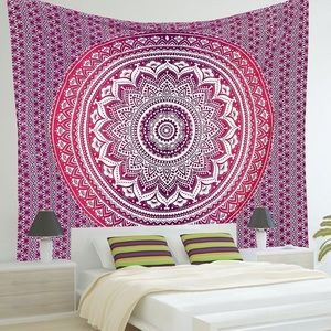 Other - Queen 90 x 84 Purple & Pink Mandala Wall Tapestry